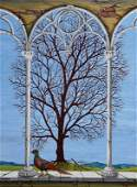 Hirsch, naive artist, spring, oil/artist board