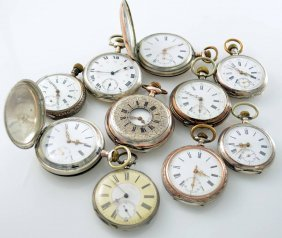 Set Of 10 Pocket Watches, Switzerland Around 1870-1890