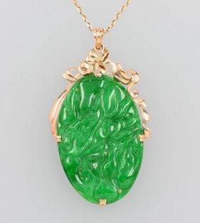 14 Kt Gold Pendant With Jade, Approx. 1930