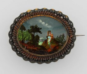 Brooch With Miniature Painting, Berlin Iron, German
