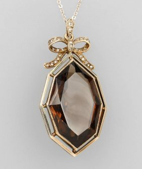 Art-deco Pendant With Smoky Quartz And Diamonds Yg