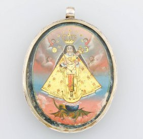 Silver Pendant With Enamel Painting