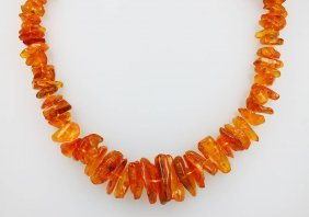 Extra-long Necklace Made Of Amber, Honey Coloured