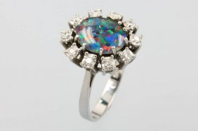 14 Kt Gold Ring With Opal Triplet And Diamonds