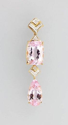 18 Kt Gold Pendant With Kunzite And Diamonds