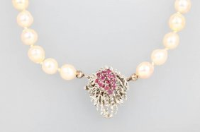 Necklace Of Akoya Cultured Pearls With Rubies