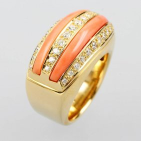 18 Kt Gold Leo Wittwer Ring With Coral And Brilliants,