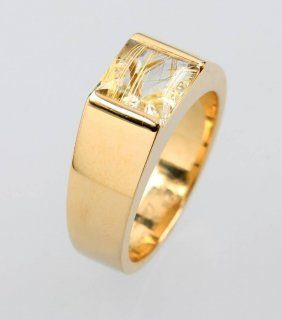 18 Kt Gold Cartier Ring 'tank' With Love Arrows