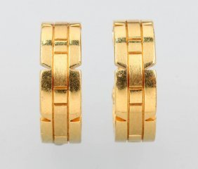 Pair Of 18 Kt Gold Cartier Earhoops