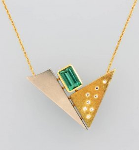 18 Kt Gold Pendant With Tsavorite And Brilliants