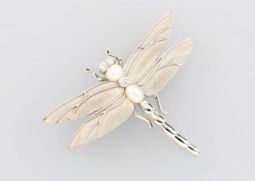 18 Kt Gold Tiffany Brooch 'dragonfly' With Pearl And