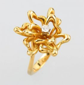 18 Kt Gold Ring 'blossom' With Brilliant