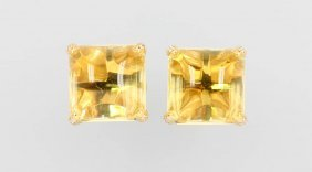 Pair Of 18 Kt Gold Earrings With Citrines And