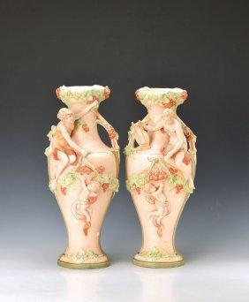Pair Of Vases, Royal Dux, Earthenware