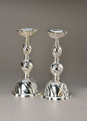 Pair Of Large Silver Candle Holders