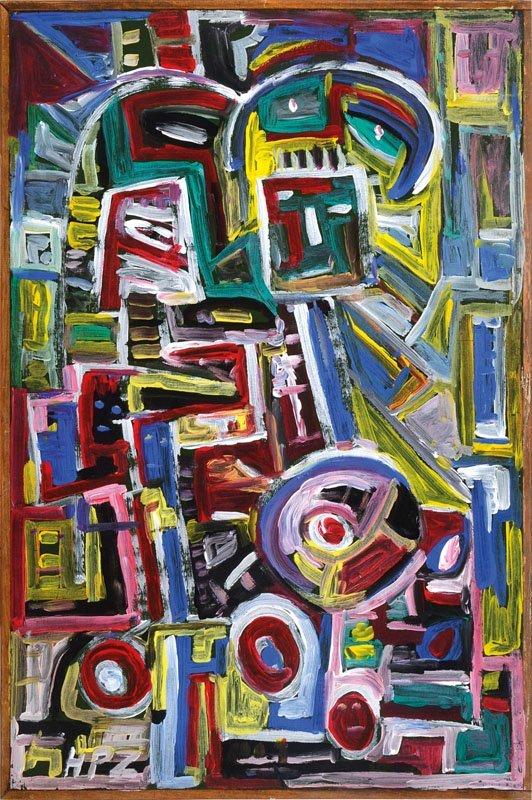 Hans Peter Zimmer, 1936-1992, acrylic/wood