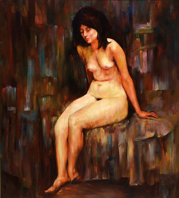 Unknown contemporary artist, sitting nude, oil/canvas