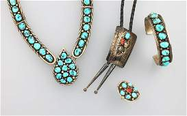 Silver jewelry set with turquoises socalled NAVAJO