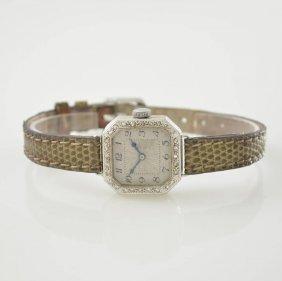 Art Deco 18k White Gold Ladies Wristwatch