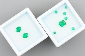 Lot 9 Loose Emeralds, Total Approx. 3.50 Ct,