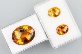 Set With 3 Oval Bevelled Madeira Citrines, Pair And