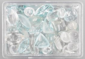 Lot Made Of Aquamarine- And Topaz Cabochons
