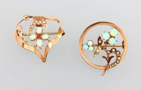 Lot 2 Gold Brooches With Opals And Pearl