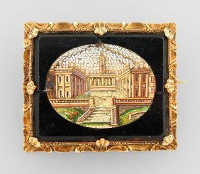 14 Kt Gold Brooch With Micromosaic