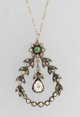 Silver Pendant With Diamonds And Emerald, German