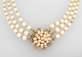 Costume Jewellery With Imitated Pearls, Metal Gilded