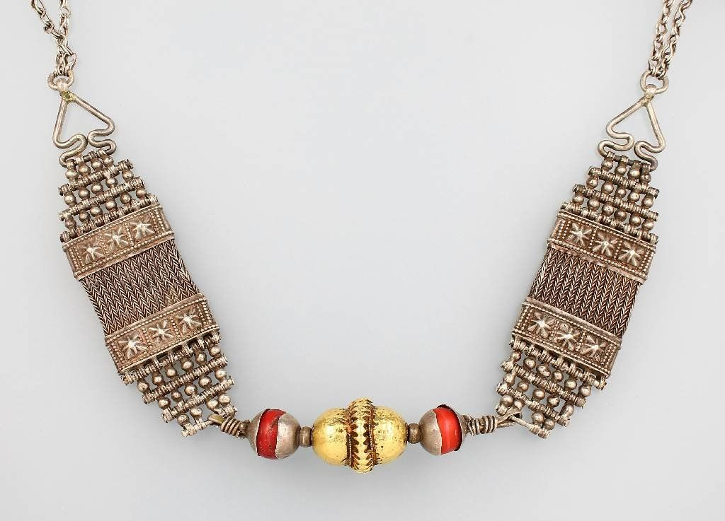 Necklace, South Arabia before 1900, silver andfine gold
