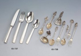 Lot 9 Collectors Spoons And 8 Collectors Forks, After