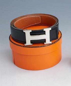 Hermes Reversible Belt, Black Beige, Glazed And Grain