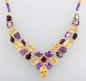 Unusual Silver Necklace With Coloured Stones