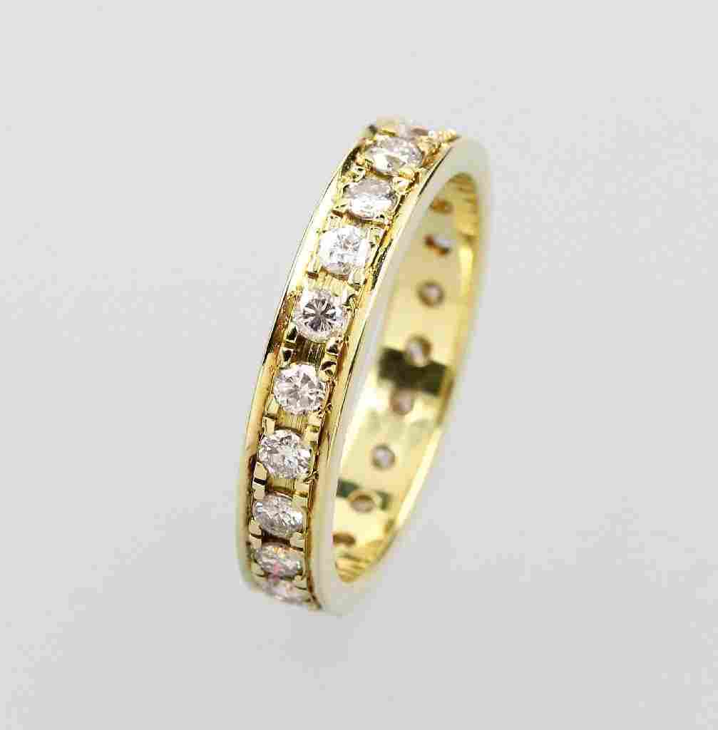 14 kt gold memoryring with brilliants,