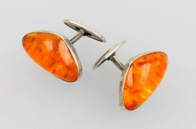 Pair Of Fischland Cuff Links With Amber