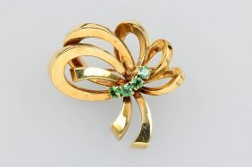 14 Kt Gold Brooch With Tourmalines