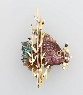 18 Kt Gold Brooch/pendant 'fish' With Spectrolite,
