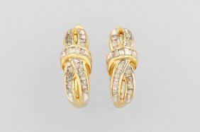 Pair Of 14 Kt Gold Hoop Earrings With Diamonds