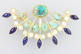 Designer Pendant With Turquoise, Lapis And Opal