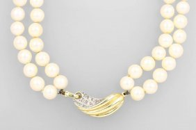 2-row Necklace Made Of Cultured Pearls With Diamonds