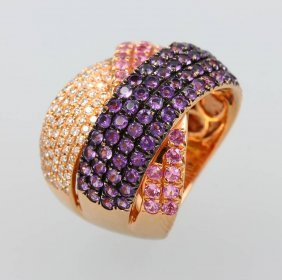 18 Kt Gold Ring With Sapphires, Amethysts And
