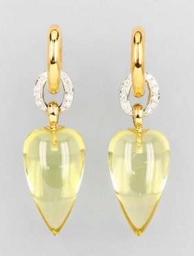 Pair Of 18 Kt Gold Earrings With Lemon Citrines And