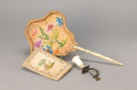 Pin Cushion, Silk Cover And Fan
