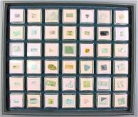 Tray with 42 boxes bevelled beryls aquamarines and