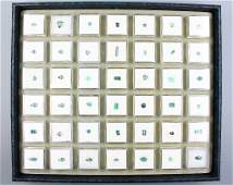Tray with 42 boxes bevelled tourmalines
