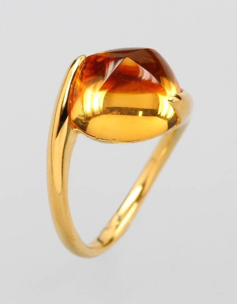 18 kt gold ring with citrine,