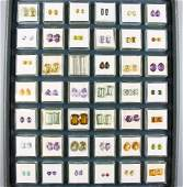 Tray with 42 boxes bevelled gemstone pairs