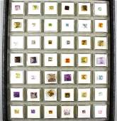 Tray with 42 boxes bevelled coloured stones