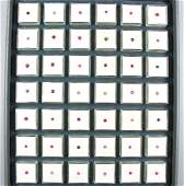 Tray with 42 boxes round bevelled tourmalines